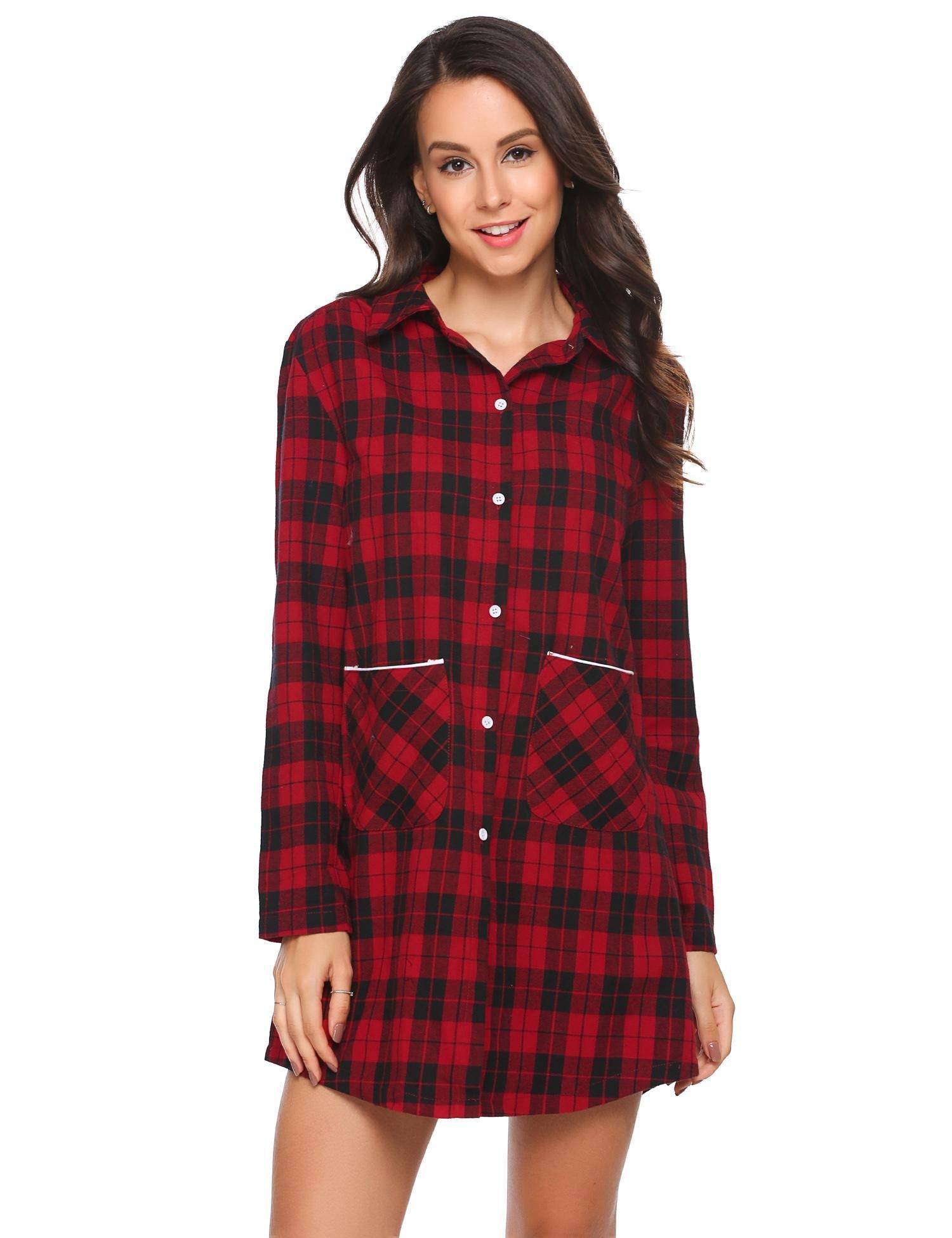 TelDen Womens Boyfriend Plaids Nightshirts Long Sleeve Cotton Pajama Tops Sleep Shirt, Red