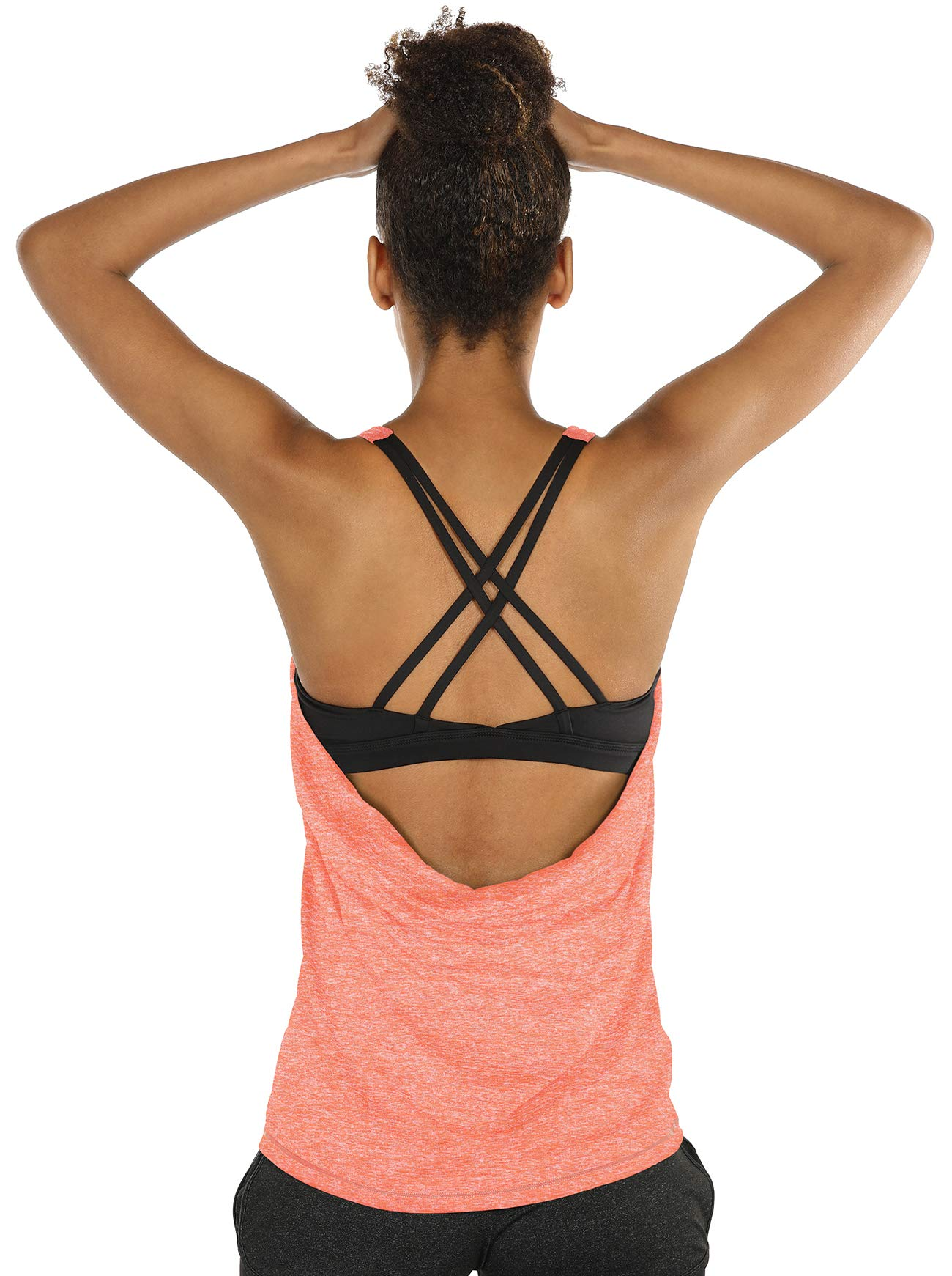 icyzone Yoga Tops Workouts Clothes Activewear Built in Bra Tank Tops for Women (S, Peach)