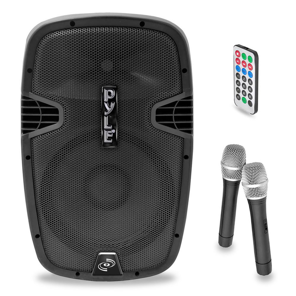 Pyle PPHP159WMU Powered Bluetooth PA Active Speaker System - Stage Loudspeaker Monitor with 15 Inch Bass Subwoofer Built in USB for MP3 Amplifier - DJ Party Sound Equipment Stereo Amp Sub for Concert Audio or Band Music