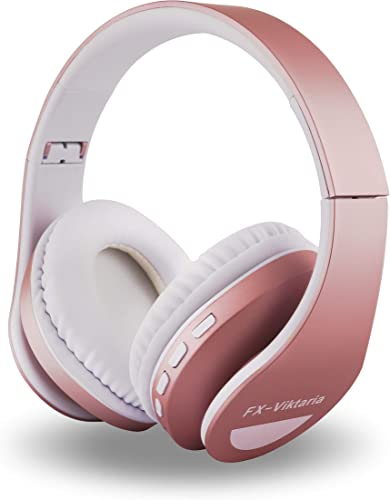 FX-Viktaria Over Ear Headphones, Headset with Microphone, Foldable and Lightweight, Support TF Card, USB Charging Headset, MP3 Mode and FM Radio for Cellphones, Laptop Pink-with-Blue