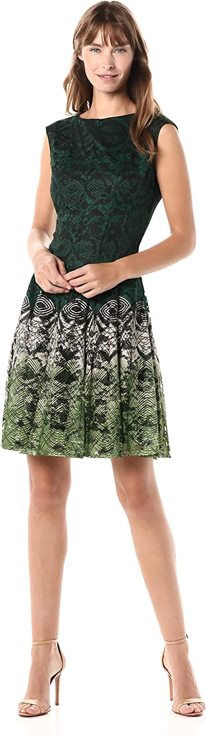 Gabby Skye Women's Cap Sleeve Round Neck Printed Lace Dress