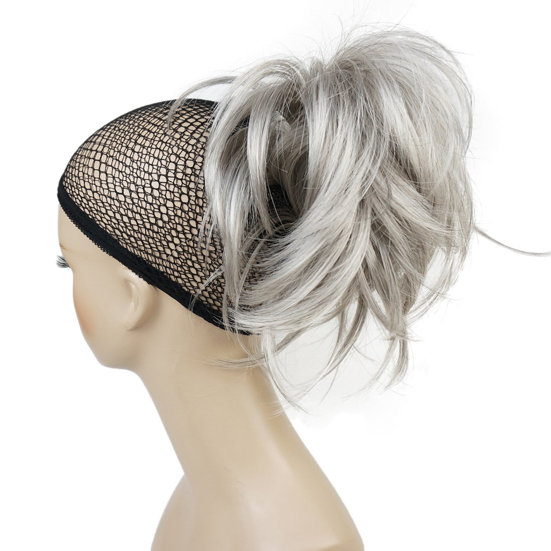 Lydell Adjustable Messy Style Ponytail Hair Extension Synthetic Hair-Piece with Jaw Claw Amzing Shape For You #51 Silver Gray