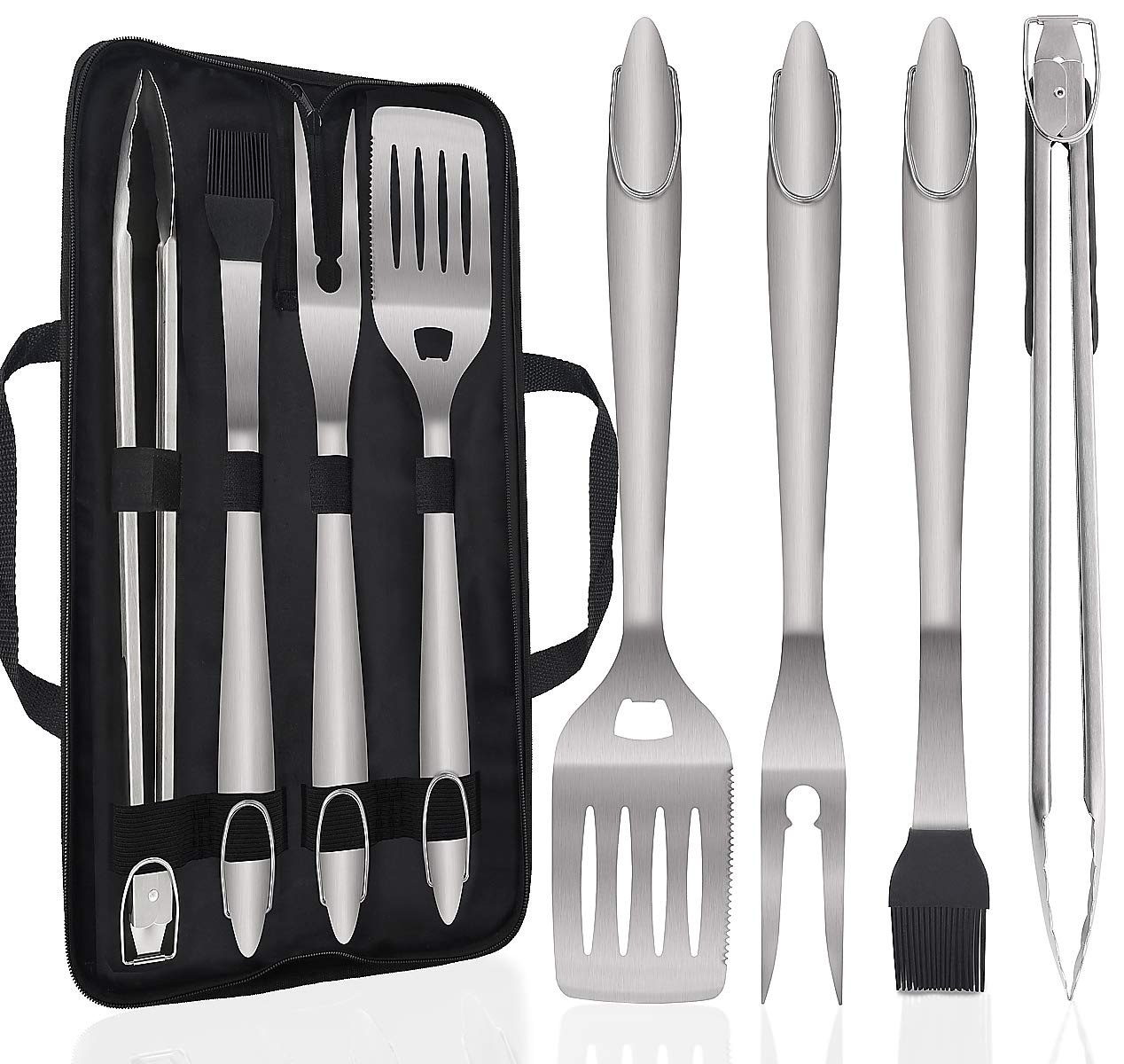 POLIGO 5PCS Barbecue Grilling Accessories Set with Bag – Extra Thick Stainless Steel Spatula, Fork, Tongs Basting Brush – Gift Box Package Ideal Christmas Birthday Gifts Set for Dad Men Presents