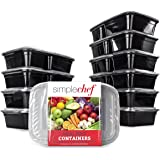 Simple Chef Meal Prep Food Containers - Set of 10 - Microwave and Dishwasher Safe - Reusable and Stackable