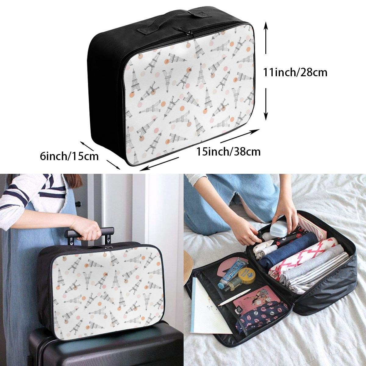 Travel Luggage Duffle Bag Lightweight Portable Handbag Eiffel Tower Pattern Large Capacity Waterproof Foldable Storage Tote