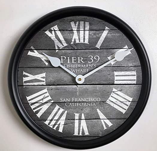 Pier 39 Gray Wall Clock