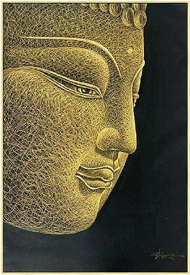 SmartWallArt – 100 Hand Sculptured Golden Buddha Head Oil Painting byf Artist Only Using a Craft Knife 31.5x47inch Creaive Zen Figure Framed Wall Art Decoration Gift with Collective Value