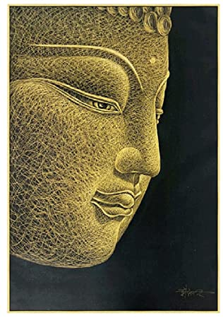 SmartWallArt – 100 Hand Sculptured Golden Buddha Head Oil Painting byf Artist Only Using a Craft Knife 31.5x47inch Creaive Zen Figure Framed Wall Art Decoration Gift with Collective Value