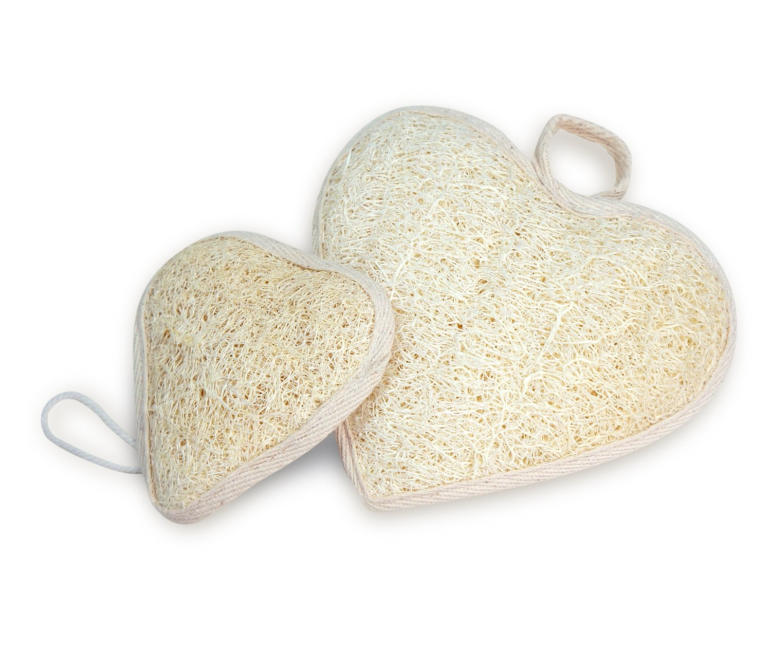 Natural Loofah Bath Sponge Pads for Hand and Foot 2 Pack (Heart 6 inch)