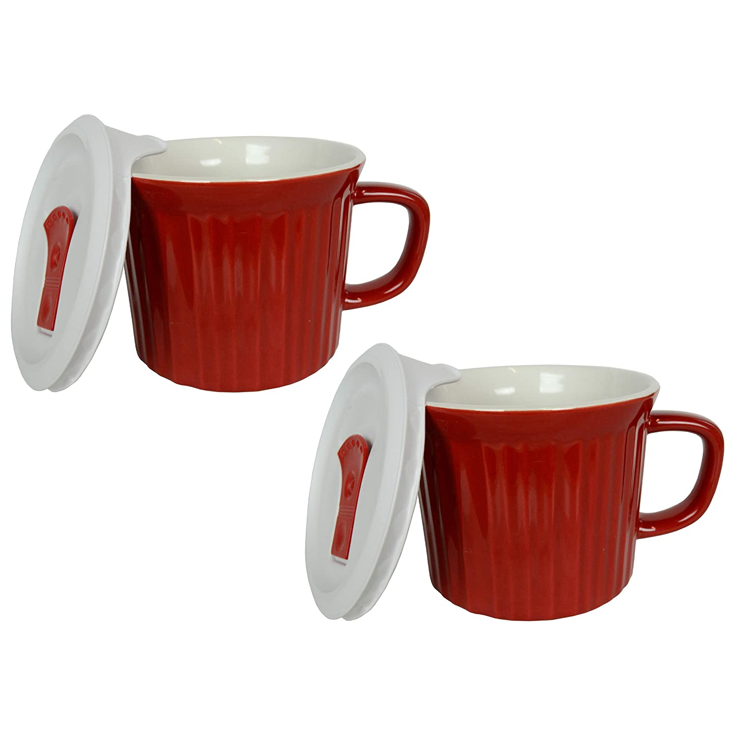 Corningware 20 Ounce Tomato Red Meal Mug With Vented Lid – 2 Pack
