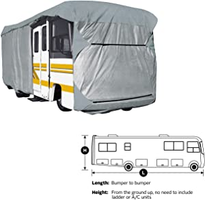 """SavvyCraft Heavy Duty Class A RV Motorhome Cover, Fits 37' to 39'L Extra Tall 140"""" H"""