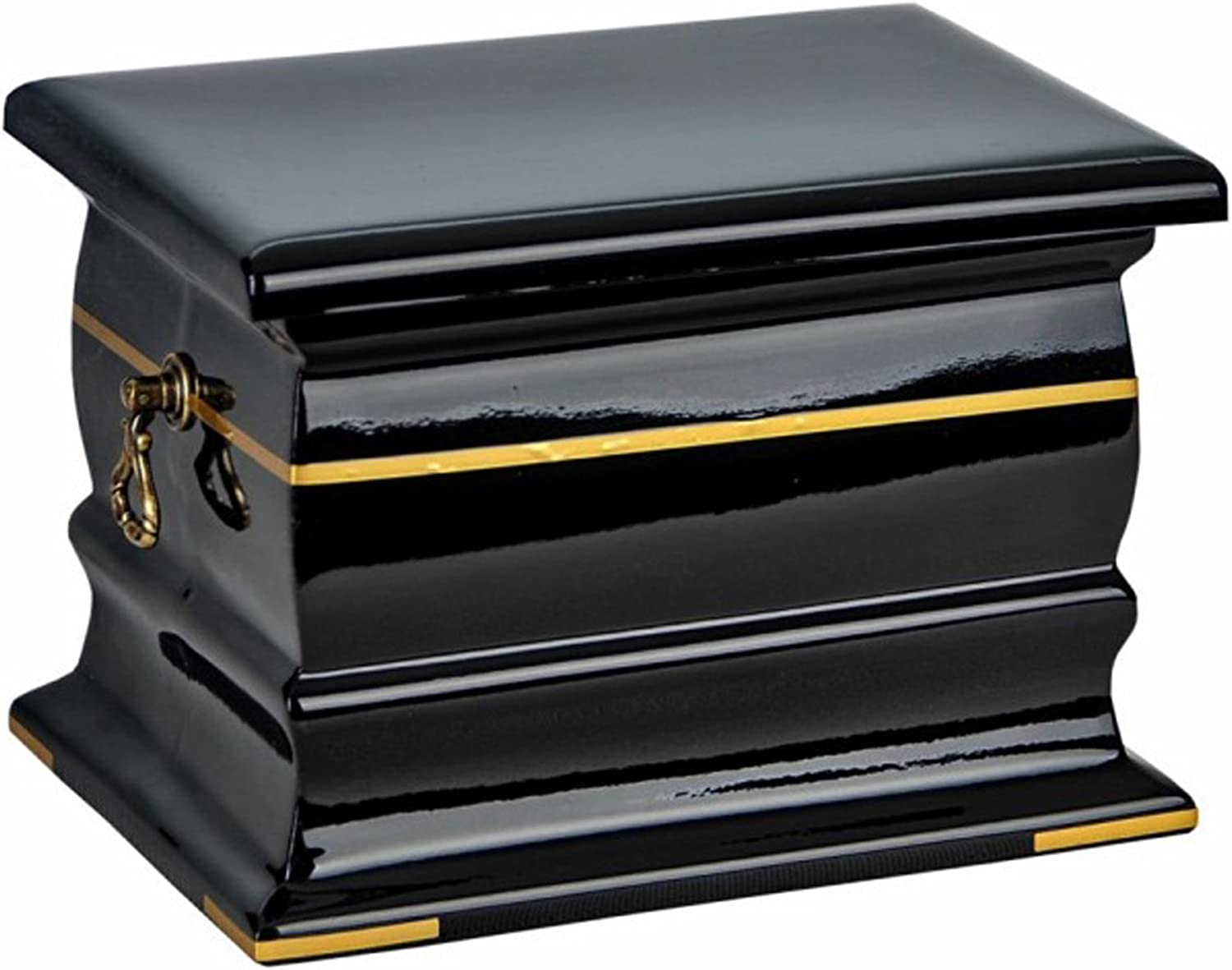 Gregspol Ltd Composite Casket Cremation Ashes Urn For Adult Decorated with Gold Band Memorial Urn for Human Ashes