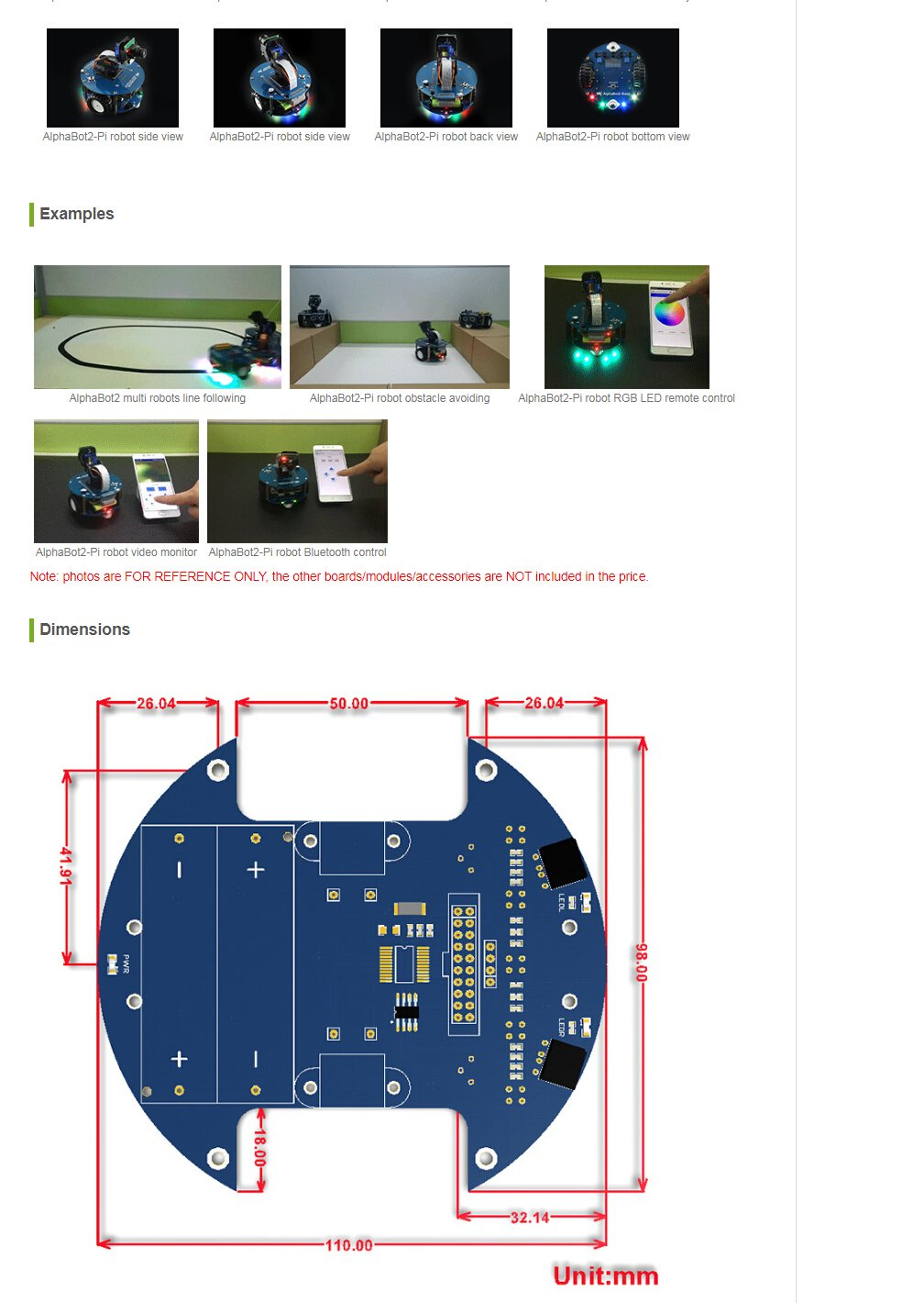 Including Line Tracking Obstacle Avoiding Bluetooth Infrared Wifi Remote Control Video Monitoring Waveshare AlphaBot2 Robot Building Kit for Pi with Controller Raspberry Pi 3 Model B