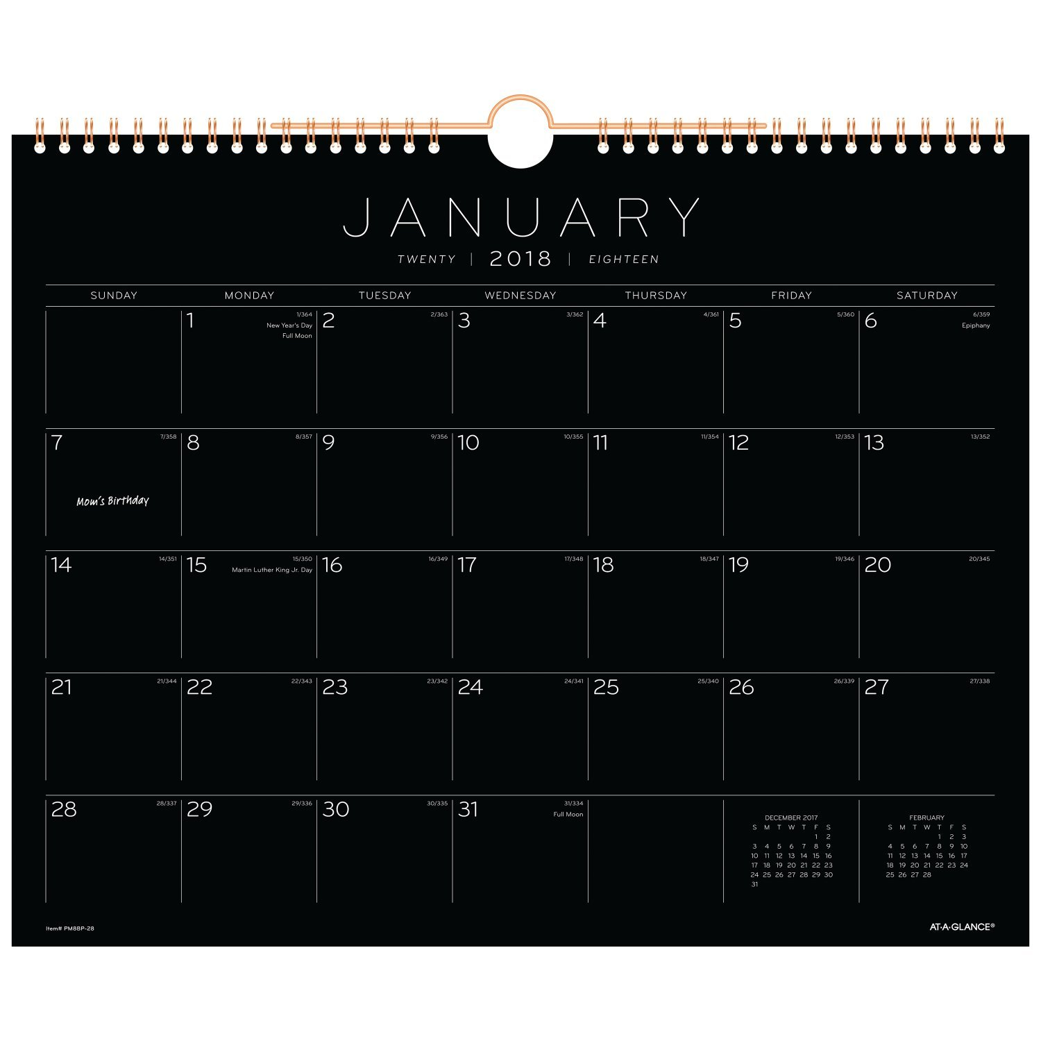 amazon com at a glance monthly wall calendar january 2018