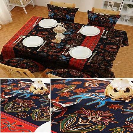 CFWL Mantel étnico de Lino y Lino de algodón 140 x 140 Mantel Cuadrado Amarillo Mantel Redondo Blanco Mantel Blanco Elegante: Amazon.es: Hogar