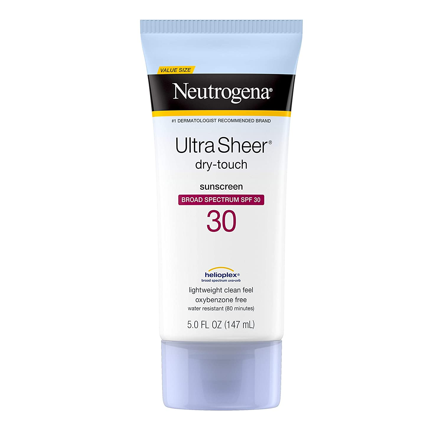 Neutrogena Ultra Sheer Dry-Touch Sunscreen Lotion with Broad Spectrum SPF 30 UVA/UVB Protection, Oxybenzone-Free, Lightweight, Water Resistant, Non-Comedogenic and Non-Greasy, 5 fl. oz