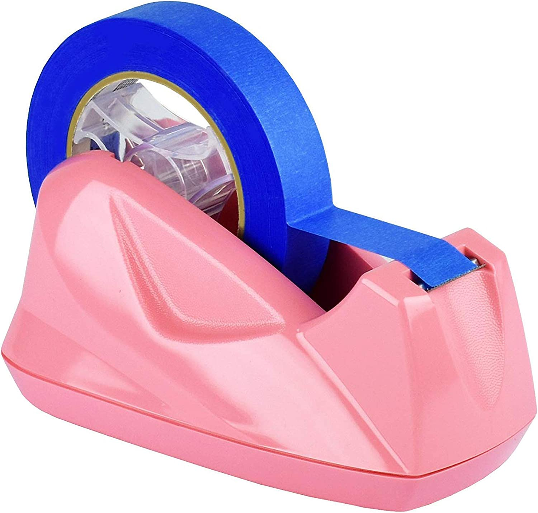 Acrimet Premium Desktop Tape Dispenser Jumbo Non-Skid Base (Heavy Duty) (Pink Color)