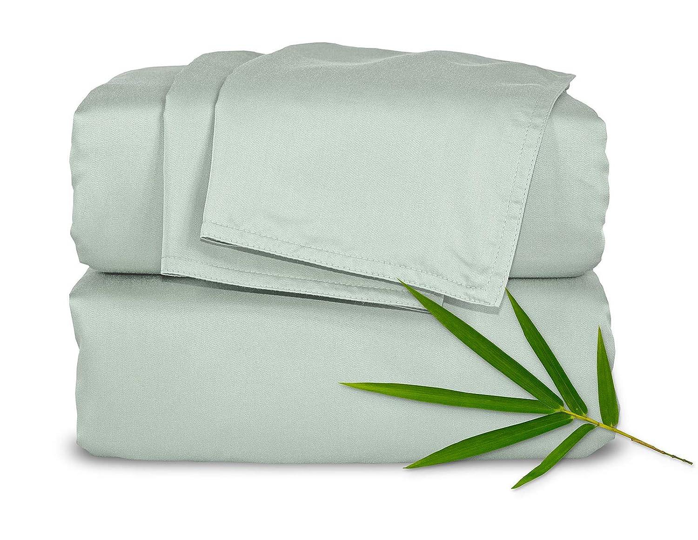 Pure Bamboo Sheets King 4pc Bed Sheet Set - 100% Bamboo Luxuriously Soft Bed Sheets (King, Sea Glass)