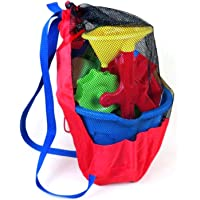bozitian Bolsa de almacenamiento de juguetes de playa, duradera para niños, bolsa de malla con cordón, mochila de playa…