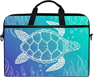 JOYPRINT Laptop Sleeve Case, Sea Ocean Animal Turtle Pattern 14-14.5 inch Briefcase Messenger Notebook Computer Bag with Shoulder Strap Handle for Men Women Boy Girls