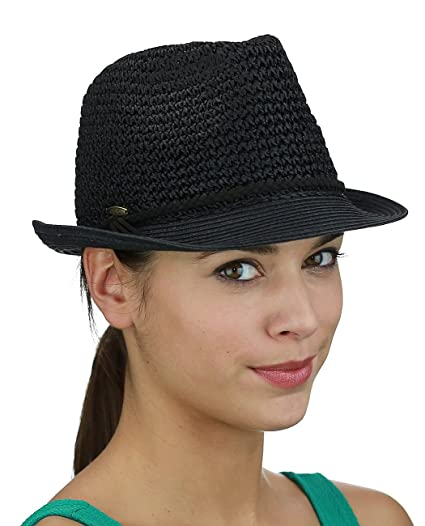 c69270a157c C.C Braided Faux Suede Band Open Weaved Spring Summer Trilby Fedora ...