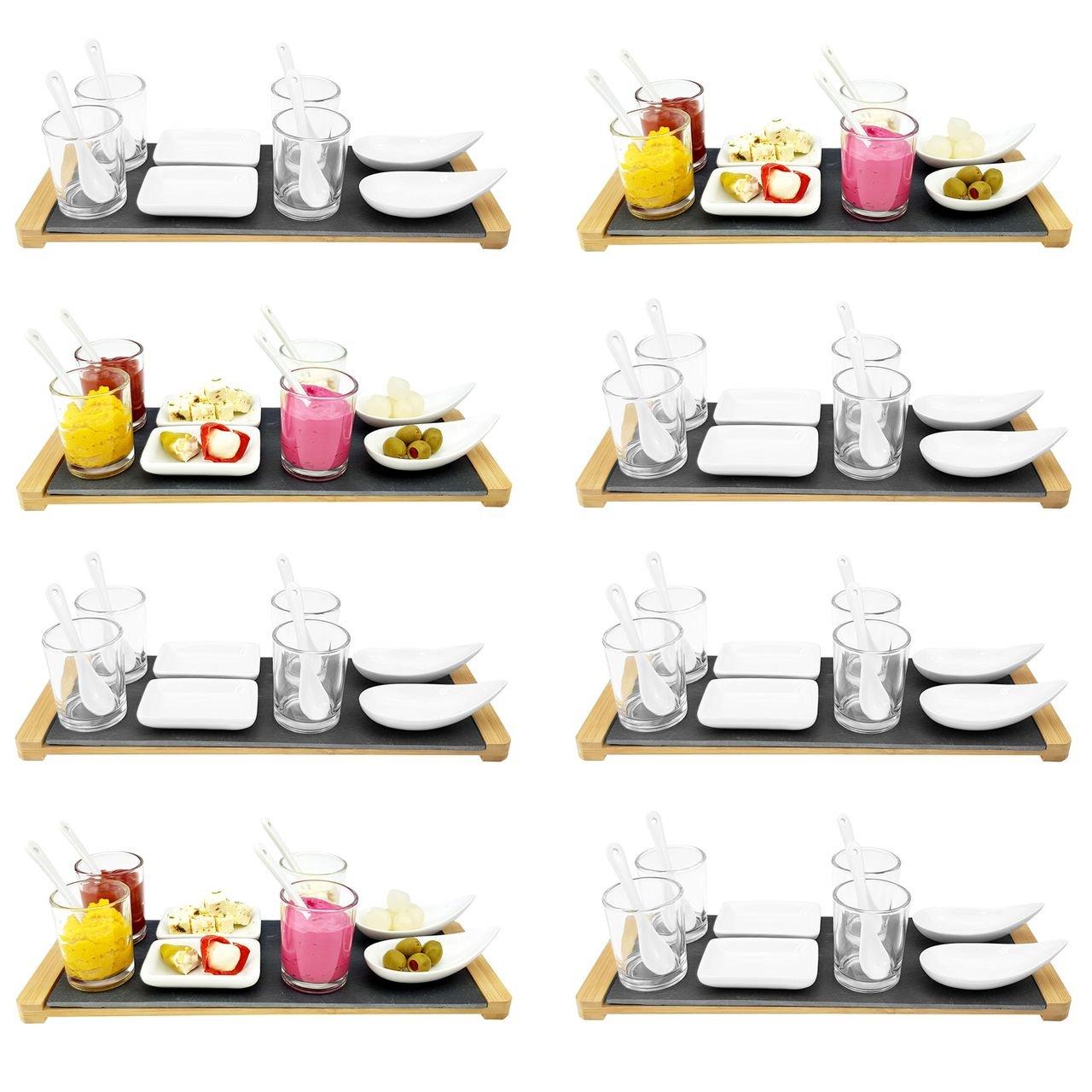 13 piezas entrantes - Incluye Pizarra Bandeja, 4 vasos con ...