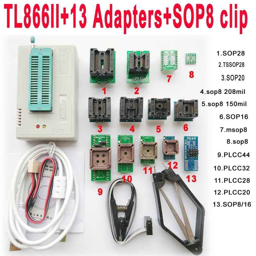 SETCTOP TL866II Plus usb programmer +13 adapter socket+SOP8 clip 1 8V nand  flash 24 93 25 mcu Bios EPROM AVR eprom