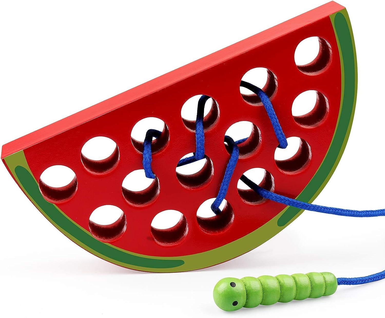 Coogam Houten Veter Rijgen Appel Speelgoed Houtblok Puzzel