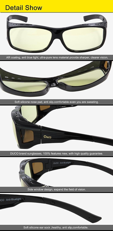 Duco Optiks ERGONOMIC Advanced computer Gaming da indossare sopra gli occhiali da vista anti luce blu avvolgente Eyewear 8953L L Large r3SHj