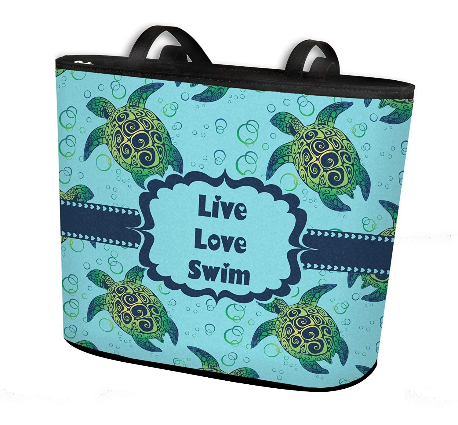 Sea Turtles Bucket Tote w//Genuine Leather Trim Personalized Regular w//Front /& Back Design