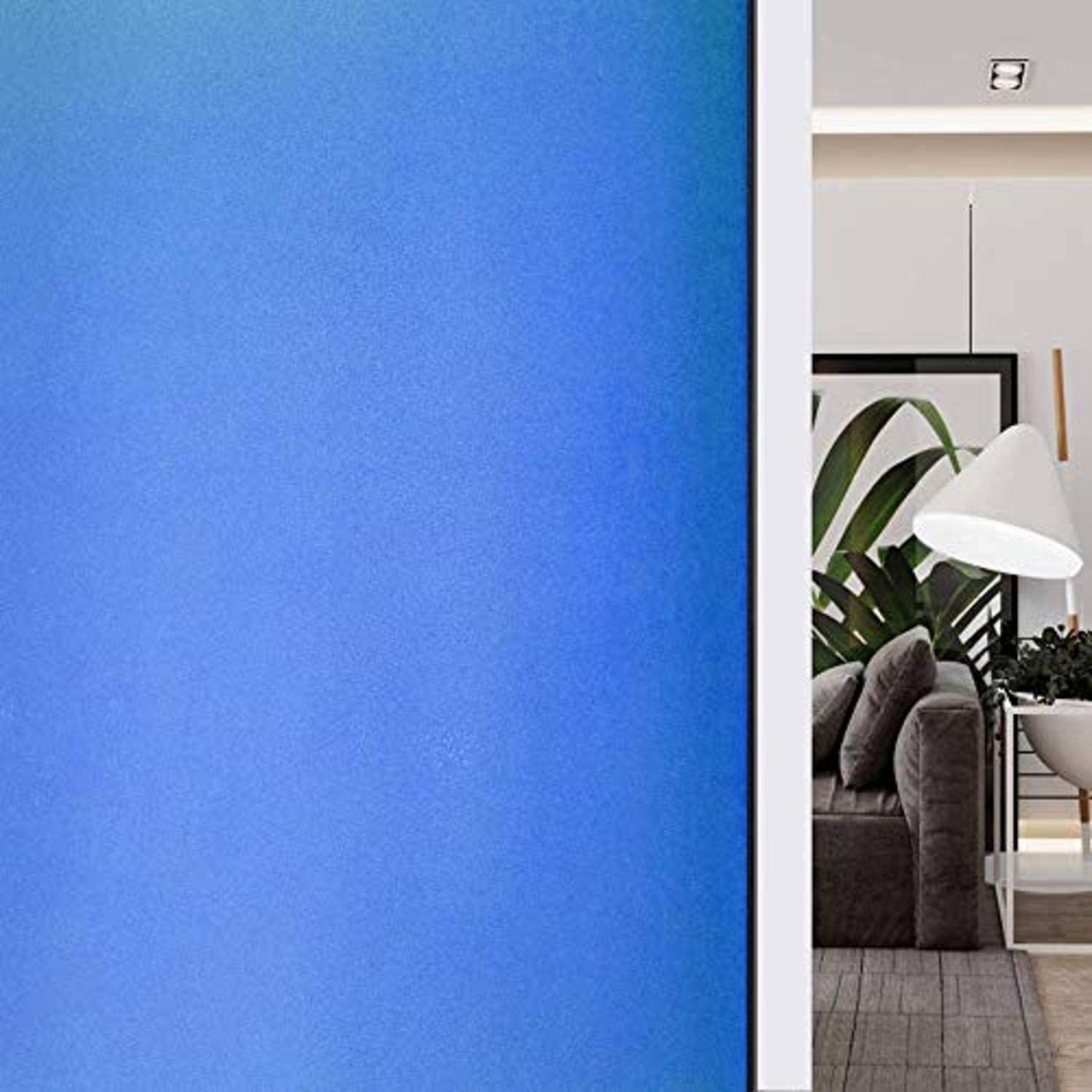 HIDBEA Frosted Window Privacy Film Colorful Decorative Static Cling Non-Adhesive UV Blocking Heat Control Reusable Glass Tint for Home Kitchen Bathroom Office, 17.5 Inches x 6.5 feet, 05-Matte Blue