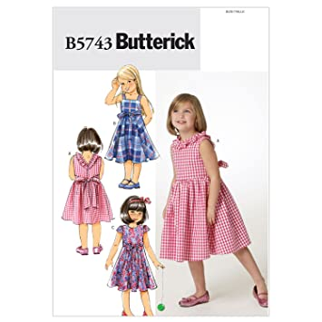 Butterick Schnittmuster 5743 CL Mädchen Kleid in 3 Varianten Gr. 6-8 ...