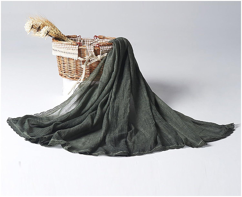 W.Cycle Women Lady Solid Retro Scarf Cotton Linen Tassel Folds Sunscreen Shawl Beach