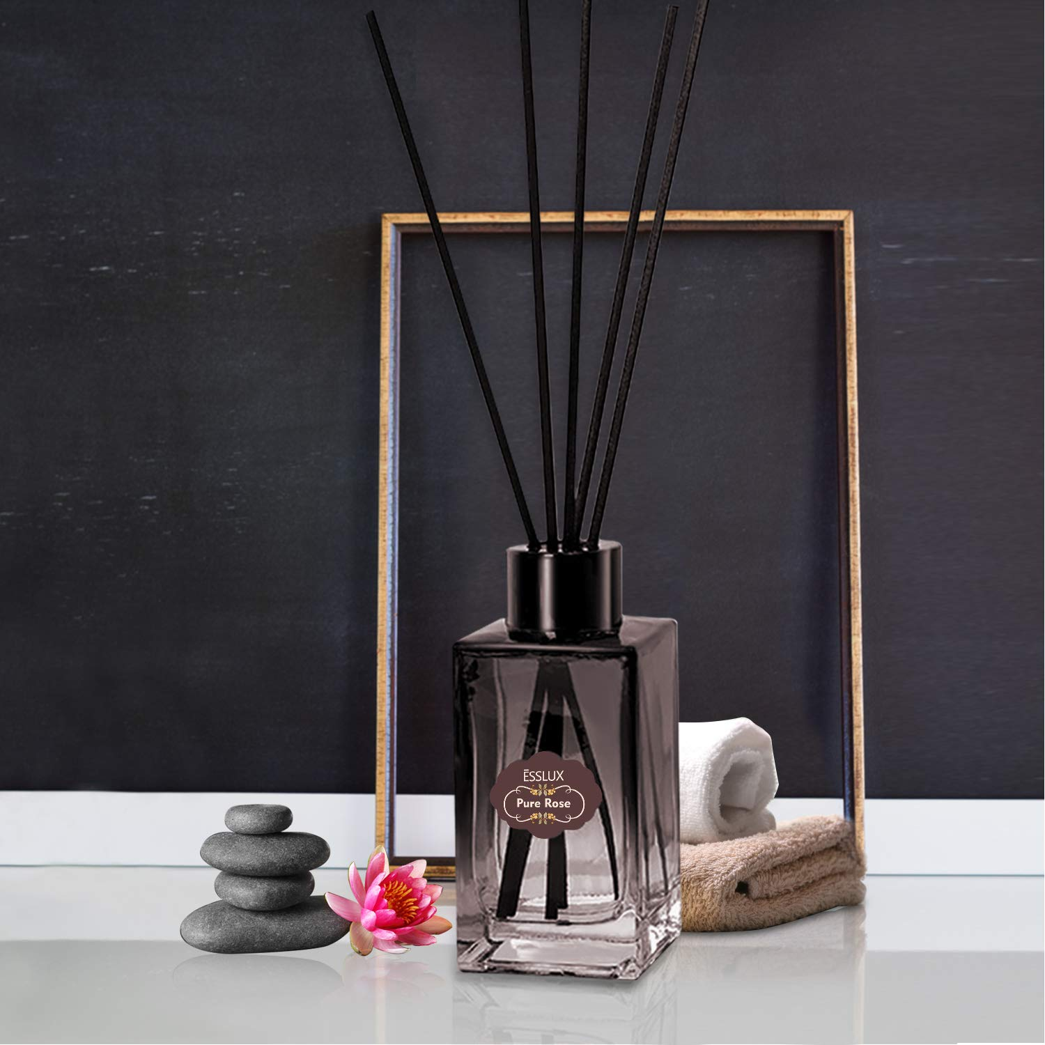 ESSLUX Scent Diffuser, Room Reed Diffuser Premium Quality for Home and Office, Air Freshener & Home Decor & Ideal Gift-Pure Rose by ESSLUX (Image #5)