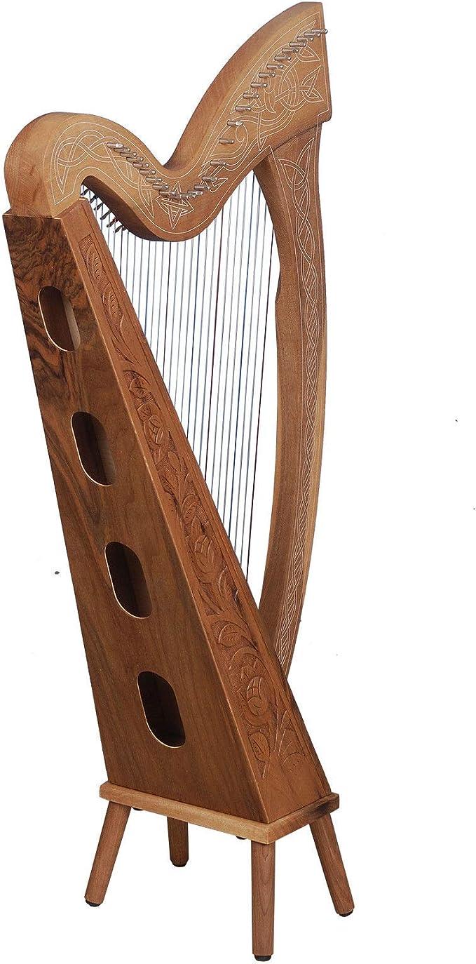 Muzikkon Arpa Boru de 29 cuerdas, nuez, arpa celta irlandesa, arpa ...