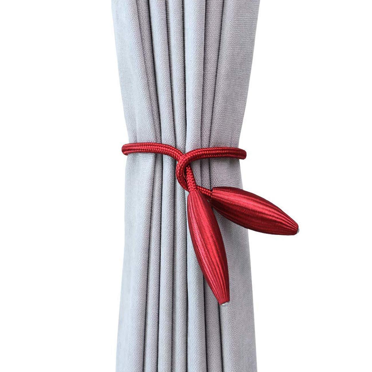 Dark Brown Ogrmar 2PCS Curtain Window Tiebacks//Random Modeling Drapery Tie Backs//Decorative Rope Holdbacks for Window Blackout and Sheer Panels No Need Drilling