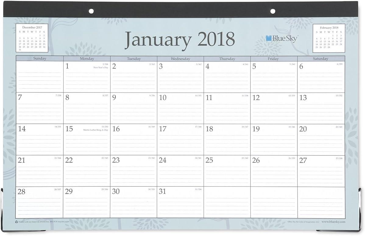 """Blue Sky 2018 Monthly Desk Pad Calendar, 17"""" x 11"""", Rue Du Flore"""