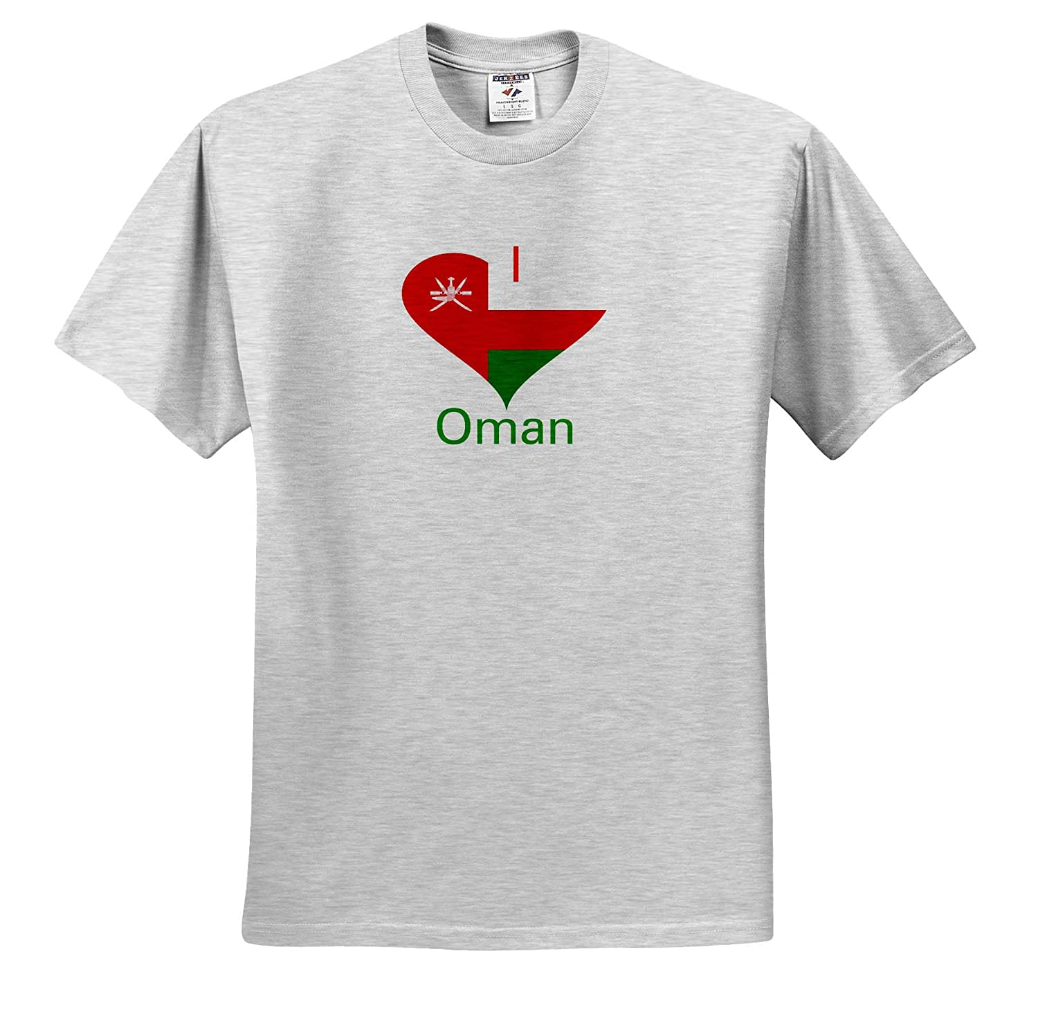 Image of I Love Oman in Coat of Arms Heart 3dRose Lens Art by Florene T-Shirts Coat of Arms in Heart