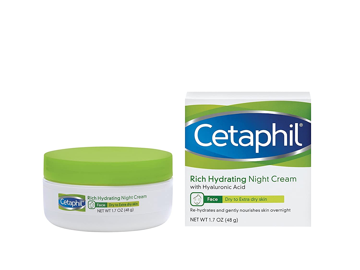 Cetaphil Rich Hydrating Night Cream with Hyaluronic Acid, 1.7 Ounce 302993889021