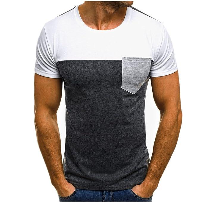 1e779e8bb9 Homebaby® Camicia Uomo Elegante Tasca Maglietta Manica Corta Casual - T- Shirt Uomo Sportivi Vintage Slim Fit Cotone Stretch Maglione Uomo Tumblr  Estiva ...
