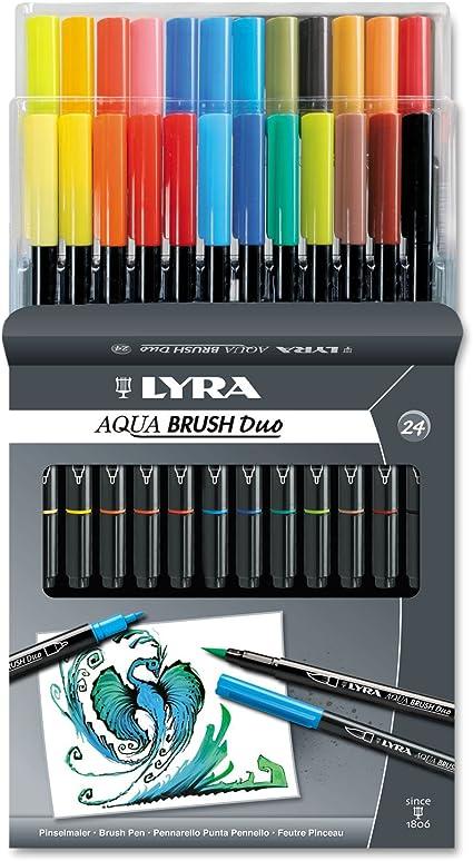 Assorted Colors 6521120 LYRA Aqua Brush Duo Brush Painters Set of 12 Pens