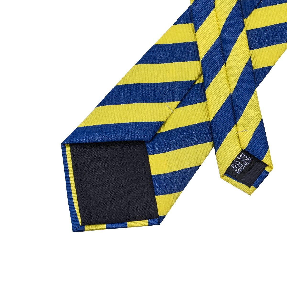 Barry.Wang Mens Ties Classic Stripe Tie Set for Men Silk Woven Hanky Cufflinks FBASN-290