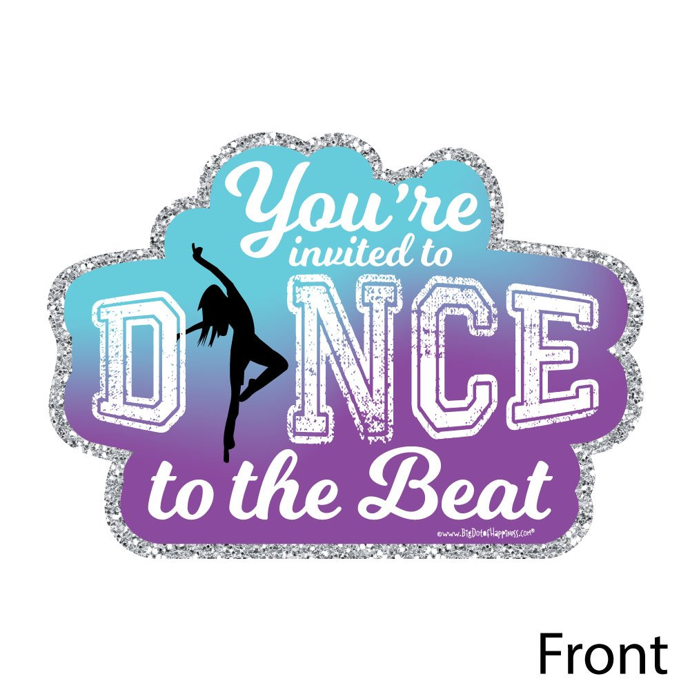Set of 12 Dance Party or Birthday Party Invitation Cards with Envelopes Shaped Fill-in Invitations Must Dance to The Beat Dance