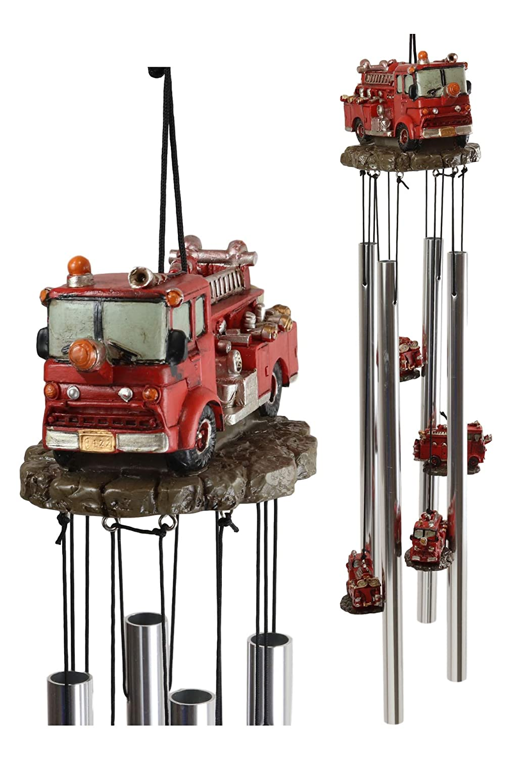 Ebros Gift Decorative Red Fire Engine Truck Model Resonant Relaxing Wind Chime Patio Garden Accent of Fire Fighters Hydrants 911 Emergency Civil Service