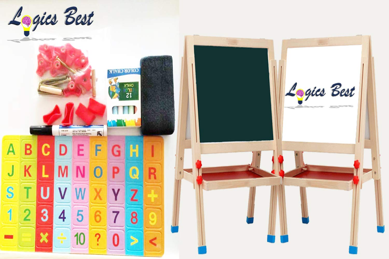 Logics Best White Board for Kids & Big Chalk Board for Kids 3 in 1 Activity Center +Plus Bonus Magnetic Letters/Numbers Chalk & Eraser