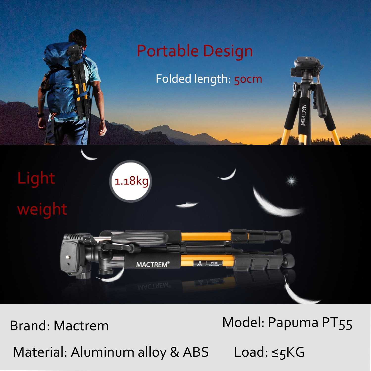 Camera Tripod Lightweight Portable Travel Tripod Aluminum Camcorder Stand MACTREM 55-Inch with Bag for DSLR Nikon Canon Sony Olympus Fuji Pentax Lumix DV Video (Gold)