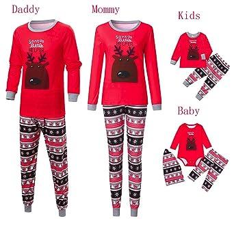 b04337116b Ropa Conjunto de Pijamas de Dormir Familiares de Navidad para Familia a  Juego Padre Madre Niños Bebé Blusa Manga Larga Impresión de Alce+ Pantalones  Rayas ...