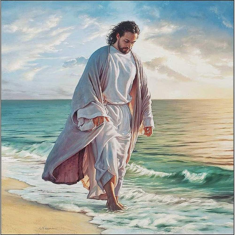 Full Drill DIY 5D Diamond Painting Kit for Adults Children NYEBS 5D DIY Diamond Painting Full Round Drill Jesus is Walking On The Beach Rhinestone Embroidery for Wall Decoration 16X16 inches