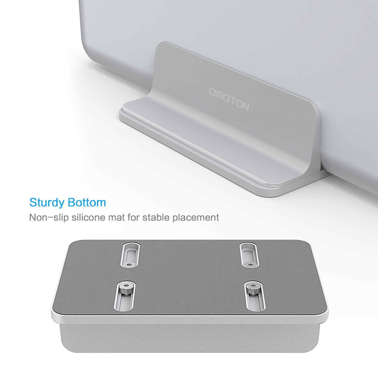 Surface OMOTON Desktop Aluminum Stand with Adjustable Dock Silver for All MacBook Adjustable Size Chromebook and Gaming Laptops Up to 17.3 inch Vertical Laptop Stand