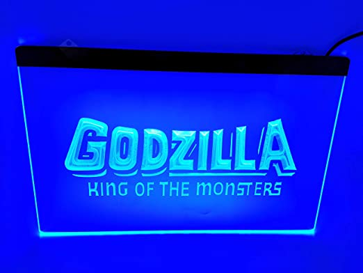 blue Godzilla King Bar Pub Led Light Sign - - Amazon.com